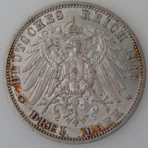 Allemagne, Preussen, 3 Mark 1910 A, TTB+, KM#527