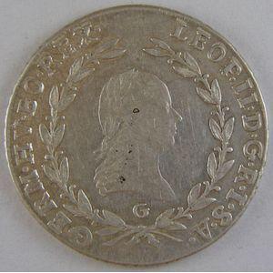 Austria, 20 Kreuzer 1791 G, TTB+, KM# 2097