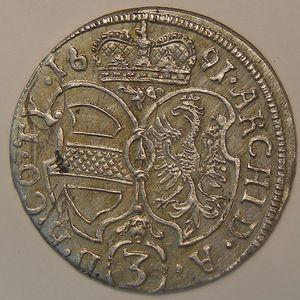 Austria, Léopold, 3 Kreuzer 1691, SUP, 1.51grs, KM# 1346