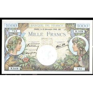 Banque de France, 1000 Francs Commerce et Industrie 19.12.1940, F: 39/3, SPL