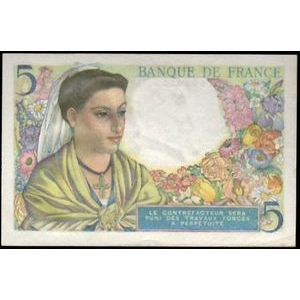 Banque de France, 5 Francs Berger 2.6.1943, F: 5/1, Pr SUP