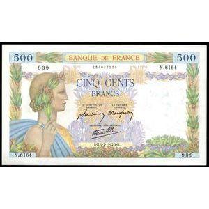 Banque de France, 500 Francs La Paix 9.7.1942, F: 32/36, SUP+