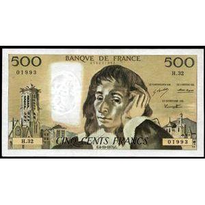Banque de France, 500 Francs Pascal 4.10.1973, F: 71/9, SUP+