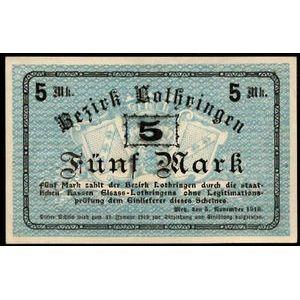 Billet d'Alsace-Moselle, Metz, Bezirk Lothringen, 5 Mark 5.11.1918, SUP