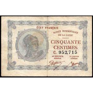 Billet des Mines Domaniales de la Sarre, 50 Centimes 1920 série C, VF: 50/3, TB+