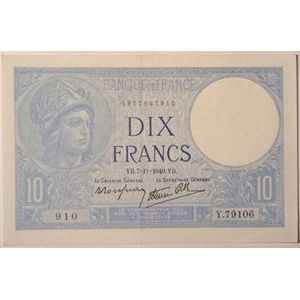 Billets français, Banque de France, 10 Francs Minerve 7-11-1940