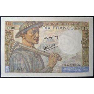 Billets français, Banque de France, 10 Francs Mineur 22-6-1944