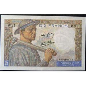 Billets français, Banque de France, 10 Francs Mineur 26-11-1942