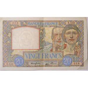 Billets français, Banque de France, 20 Francs Science et Travail 6-6-1940