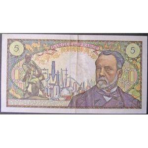 Billets français, Banque de France, 5 Francs Pasteur, F: 61/12, pas d'épinglage, nombreux plis et salissure, TB+