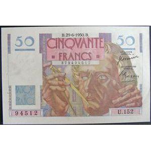 Billets français, Banque de France, 50 Francs Le Verrier 29-6-1950