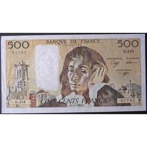 Billets français, Banque de France, 500 Francs Pascal 5-7-1990