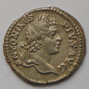 Caracalla, Denier, PONTIF TR P X COS II, TTB