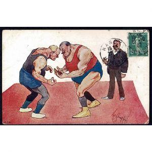 Carte Humoristique Combat de Lutte