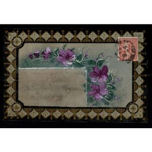 Carte plastique translucide avec des fleurs : Violettes