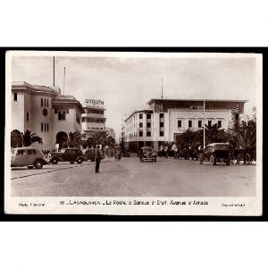 CASABLANCA (Maroc) - La Poste, la Banque d'Etat, Avenue d'Amade , CITROEN