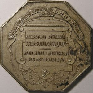 Cie Gle Transatlantique, P.Pagnier, 40mm argent SUP