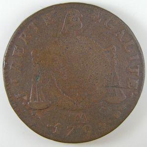 Convention, 2 Sols aux balances 1793 AA, B+/TB, Gadoury: 31