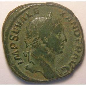 Empire romain, Alexander Severus, Sesterce, R/ P M TR P VIIII COS III P P SC, 20.28 Grs, TTB