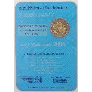 Euro, Saint Marin, San Marino, 2 euro 2006, Christophe Colomb