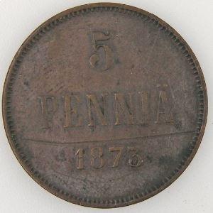 Finlande, Finland, 5 Pennia 1873, TB, KM#4.2