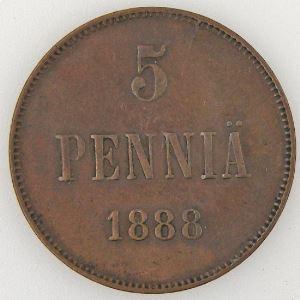 Finlande, Finland, 5 Pennia 1888, TB, KM#11