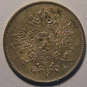 Finlande, Finland, 25 Penniä 1916 s, SUP/SUP+, KM# 6.2