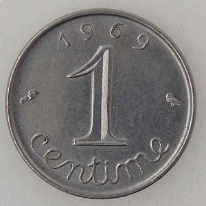 France, 1 Centime 1969 queue longue, TTB+, KM#928 .