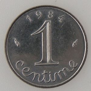 France, 1 Centime 1984, SUP+, KM#928 .