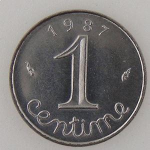 France, 1 Centime 1987, SPL, KM#928 .
