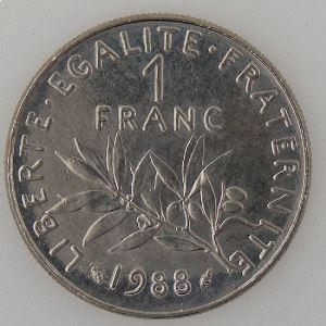France, 1 Franc 1988, SUP+, KM# 925.1
