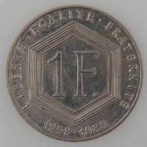 France, 1 Franc 1988 De Gaulle sans différent, SUP, KM# 963 var