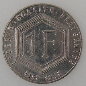 France, 1 Franc 1988 De Gaulle sans différent, SUP, KM#963 var