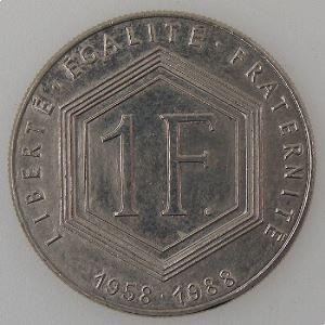 France, 1 Franc 1988 De Gaulle sans différent, SUP , KM#963 var