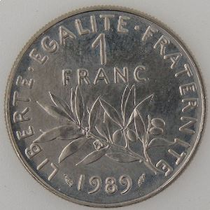 France, 1 Franc 1989, SUP+/SPL, KM# 925.1