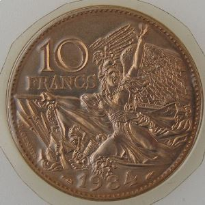France, 10 Francs 1984 Tranche A, FDC, KM#954