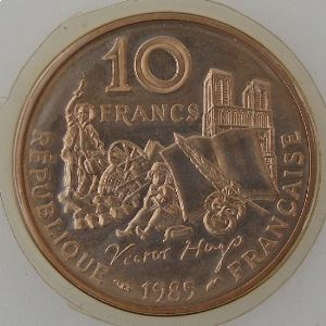 France, 10 Francs 1985 Hugo, FDC, KM#956
