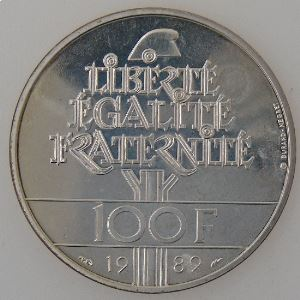 France, 100 Francs 1989, Droits de l'Homme, SPL, KM# 970