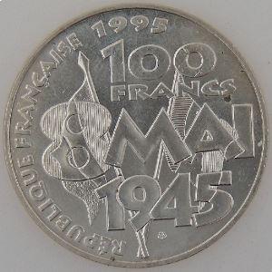 France, 100 Francs 1995, 8 Mai 1945, SUP, KM#1116.1