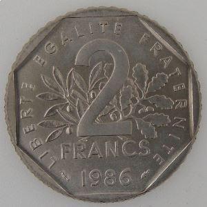France, 2 Francs 1986, SUP+/SPL, KM#542.1