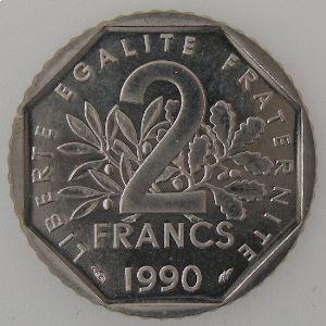 France, 2 Francs 1990, SPL, KM#542.1