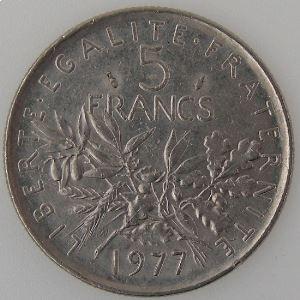 France, 5 Francs 1977, TTB+, KM#926a.1