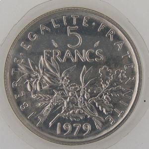 France, 5 Francs 1979, FDC, KM# 926a.1