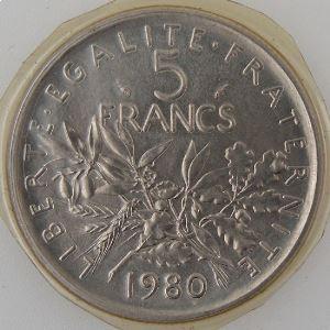 France, 5 Francs 1980, FDC, KM#926a.1
