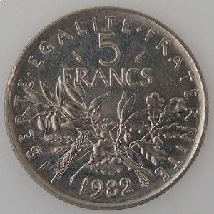 France, 5 Francs 1982, SUP+, KM#926a.1