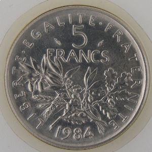 France, 5 Francs 1984, FDC, KM#926a.1