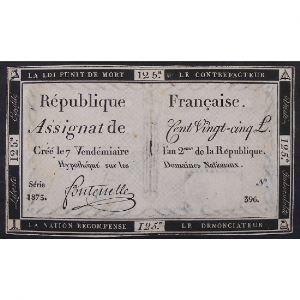 France, Assignat de 125 Livres , Série: 1873, TB