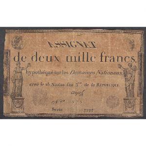 France, Assignat de 2000 Francs, Série: 5225, TB+