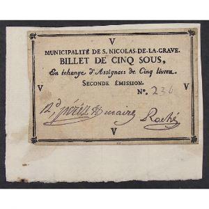 France, Billet de Cinq sous, municipalité de S. Nicolas de la Grave, TTB