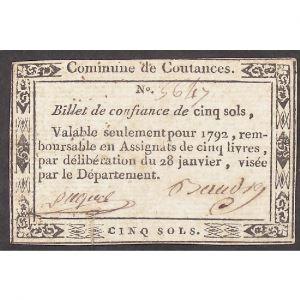 France, Billet de confiance de Cinq sols, Commune de Coutances, TB